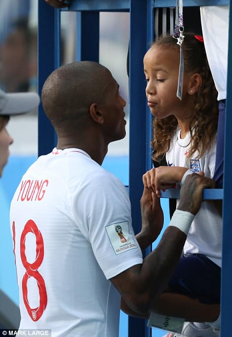 Ashley Young was seen chatting to his daughter after the match