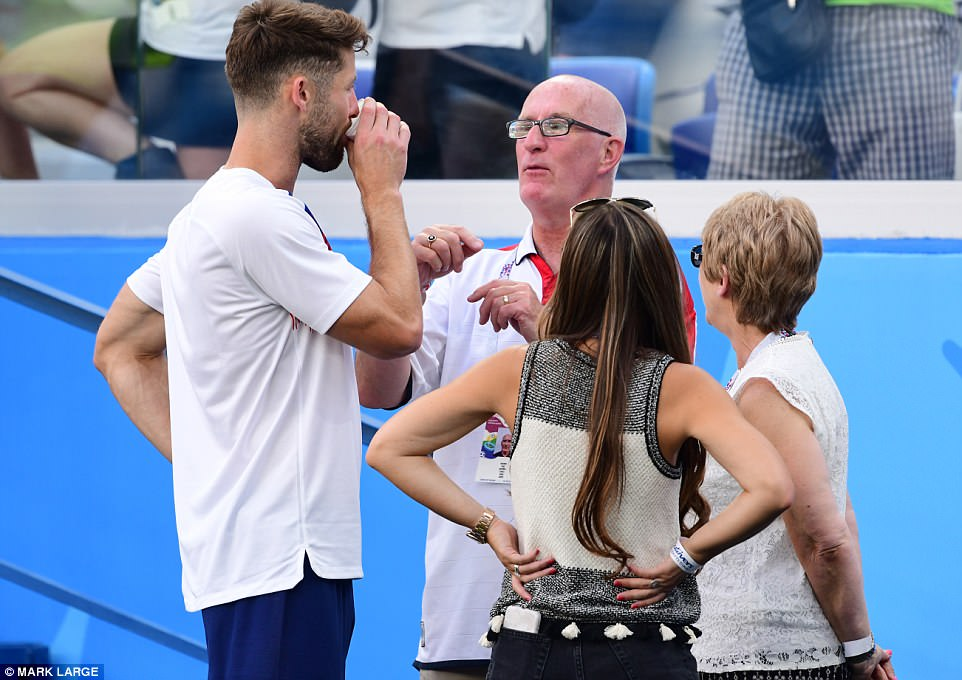 Defender Gary Cahill (right) was joined by his family following theEngland-Panama game at the Nizhny Novgorod Stadium