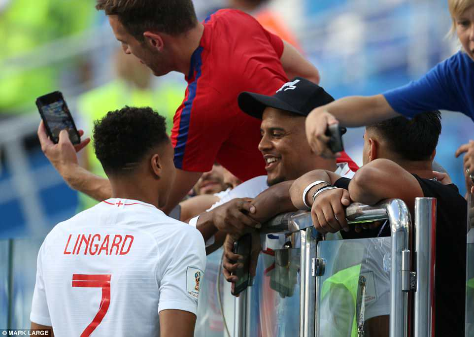 Jesse Lingard, who also got a goal in today's 6-1 victory against Panama, was also seen celebrating following the game