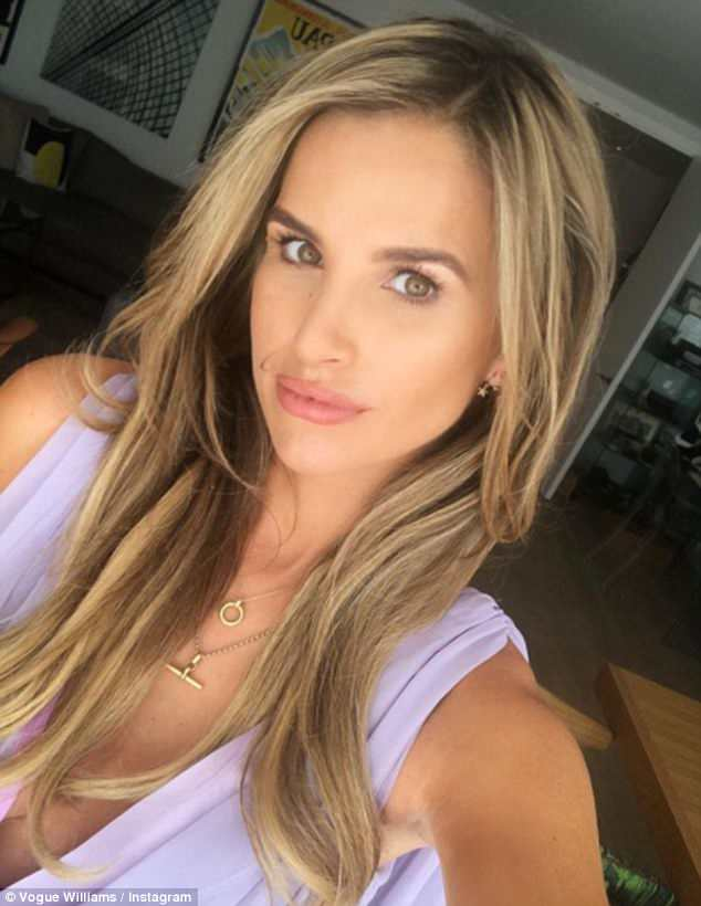 Vision in lavender: Meanwhile, Spencer Matthews' pregnant wife Vogue Williams took a selfie in a stunning plunging lilac gown