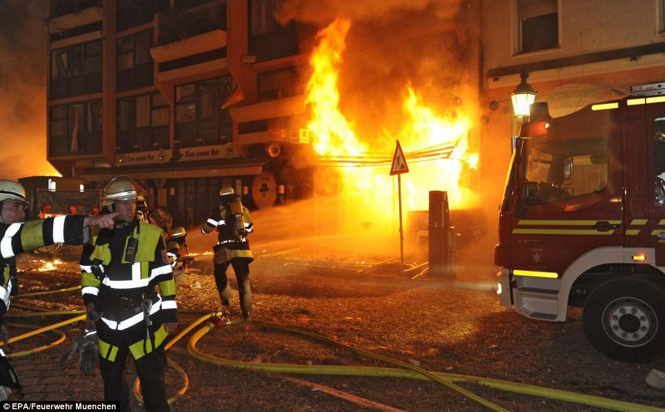 Drama: Luckily residents had long been evacuated from the area by the time the fires broke out