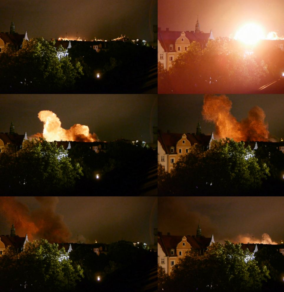 Terrifying: The flash caused by the blast over Munich is shown in sequence (from top left) as the 550lb bomb is detonated