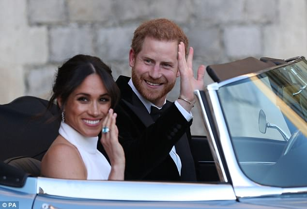 Meghan opted for a not dissimilar beauty look for the evening do of her wedding to Prince Harry