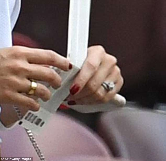 All that glitters: The Bolivian beauty sported a distinctive ring on her engagement finger ¿ giving rise to speculation that he has proposed