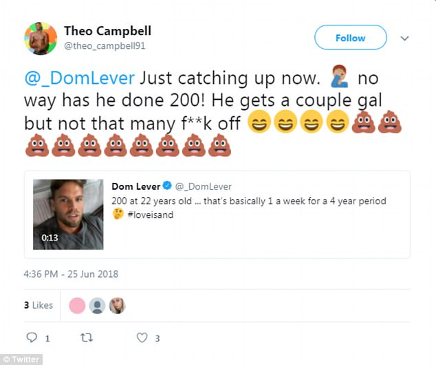 Thumbs up:Dom received support from many of his fellow Love Islanders, with 2017 star Theo Campbell, who memorably got into a war of words with Jonny Mitchell, agreeing