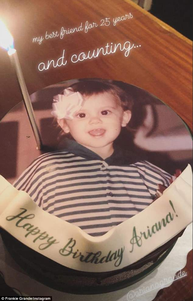Yummy treats: The cake that said 'Happy Birthday Ariana' on it also featured a childhood photo of the