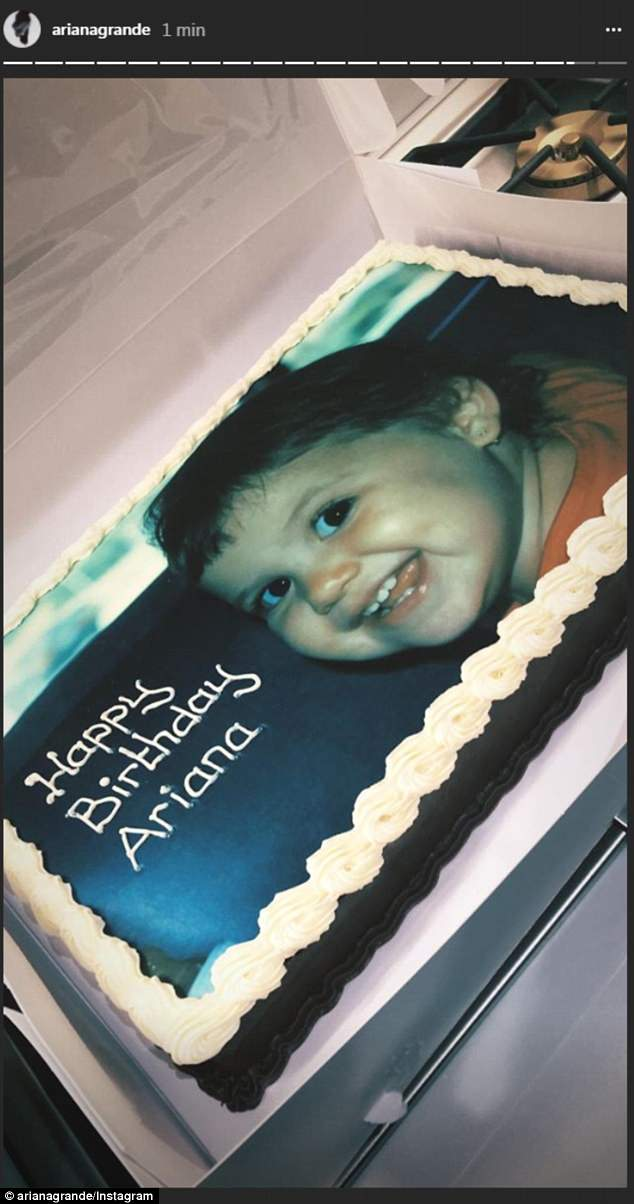 Birthday girl: Ariana also shared her cake with a childhood photo on social media