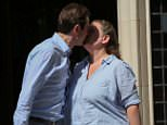 Overjoyed: Rebecca Steinfeld, 37, and Charles Keidan, 41, punched the air outside the Supreme Court this morning after five judges ruled in their favour
