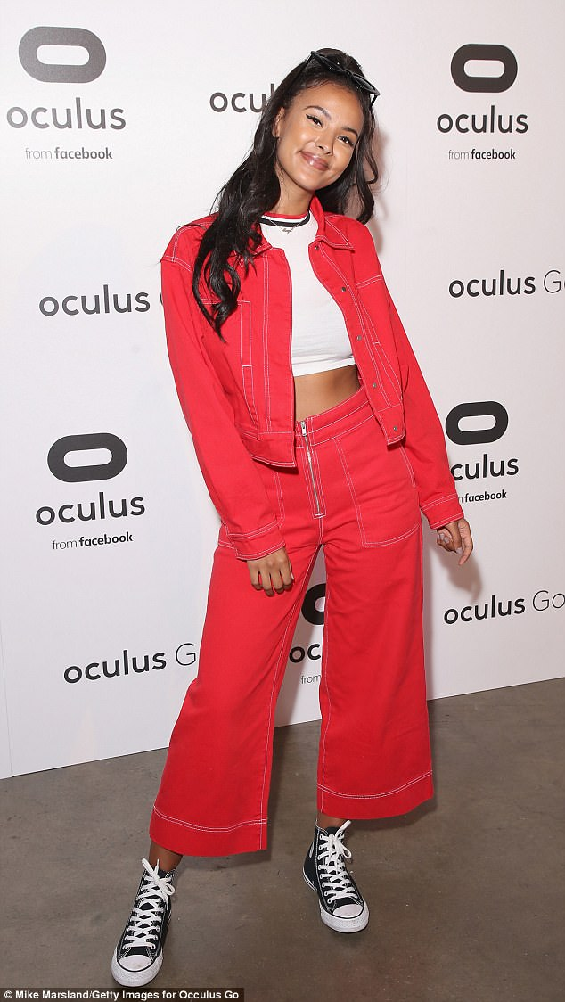 Red hot: Maya looked incredible in a matching red coords