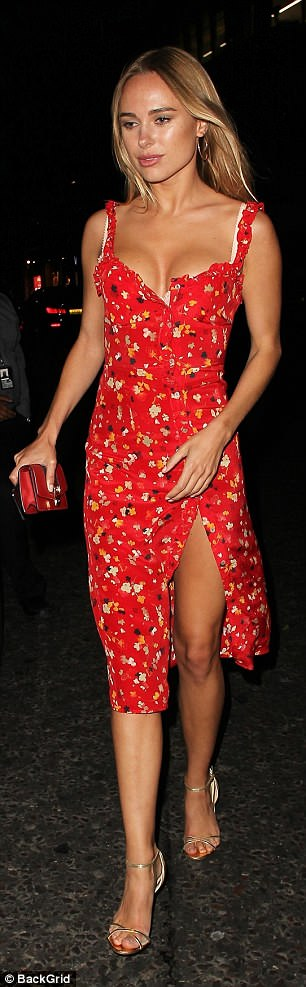 Party time: Kimberley was still looking flawless as she headed out of the party