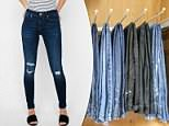 A study by Quartz analyzed size offerings for jeans at brands that sell women's apparel with storefronts at the Mall of America, and found what it called 'definitive skinny bias by US retailers;' This file photo shows various types of denim hanging in a closet