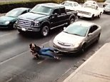 The car's right bumper crumples during the impact after the woman falls under the car