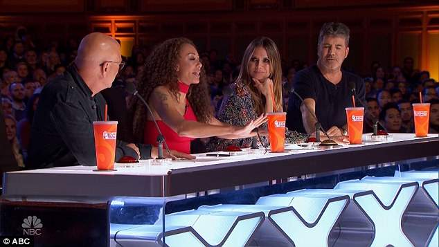 The judges: Howie Mandel, Mel B, Heidi and Simon Cowell evaluated the acts