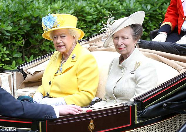 Proud grandmother:Just minutes after the news was announced, a 'delighted' Princess Anne joined the Queen at Royal Ascot in Berkshire
