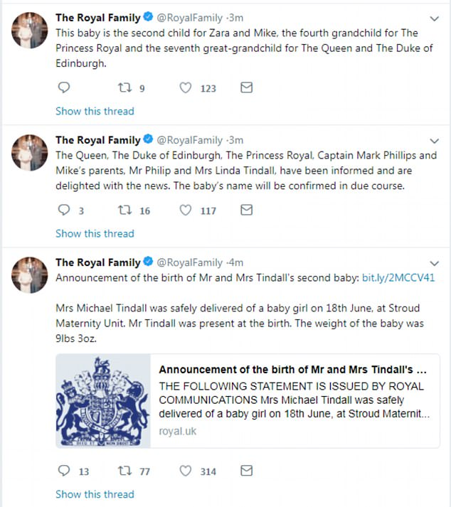 Announcement:The royal and her rugby player husband, who already have daughter Mia Grace, welcomed a little girl on Monday