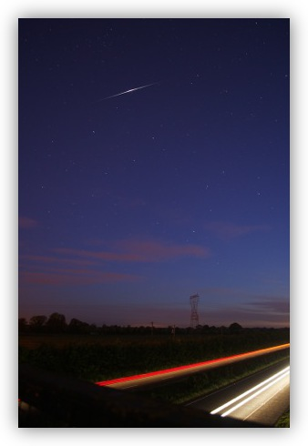 An Iridium Flare Over the M4 Motorway in Maynooth