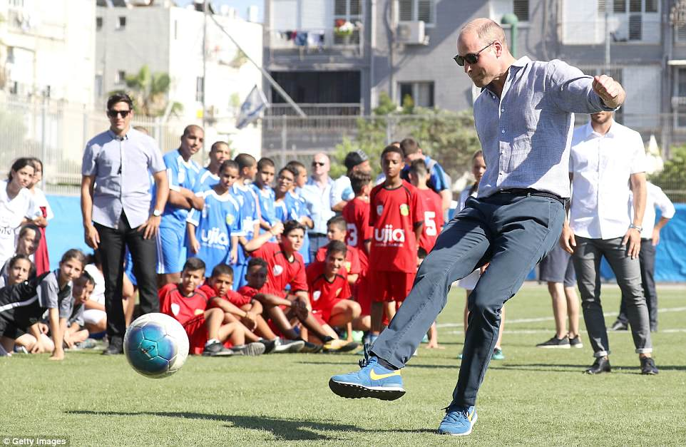 The Duke of Cambridge takes a penalty kick as he visits a football-based youth programme operated by The Equaliser inJaffa