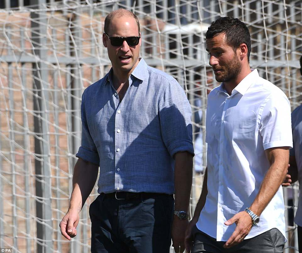 The Duke of Cambridge (left) and footballer Tomer Hemed attend a session at the Equaliser football programme