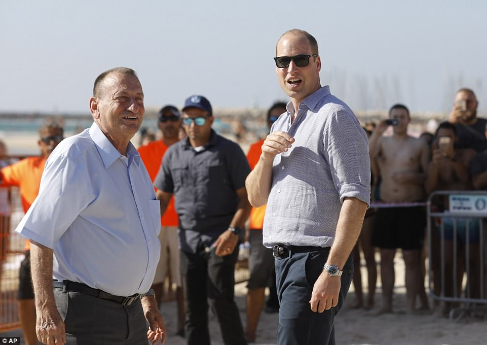 While strolling along the beach in Tel Aviv, William quipped: 'I should have brought my swimming trunks'
