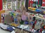 The footage begins with Burke and Pariseau attempting to flee the store before being grabbed at the exit by a cop, who had been called after they tried to buy soda with a stolen credit card