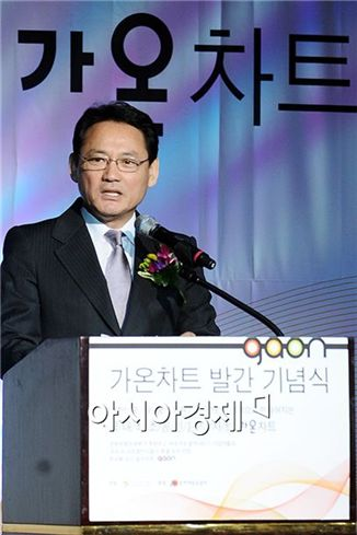 Culture Minister Yu In-chon speaks at the launching ceremony for GAON held at The Westin Chosun hotel in Seoul, South Korea on February 23, 2010. [Lee Ki-bum/Asia Economic Daily]
