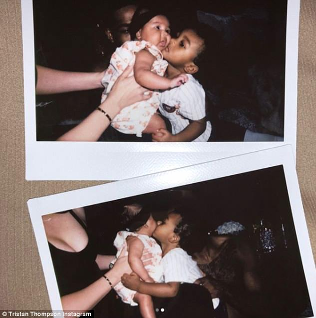 Sweethearts: Another image showed a host of Polaroid photos of Prince giving sweet kisses to his baby sister