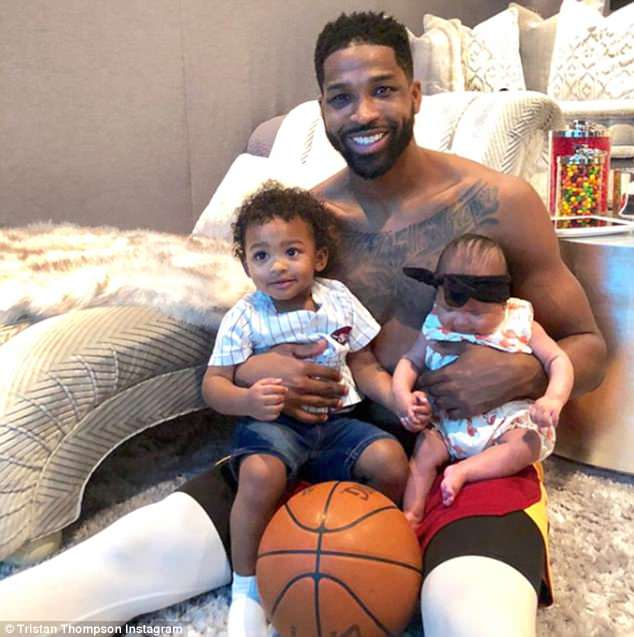 Play date: Earlier in the week, Thompson shared a few photos of his growing brood to his nearly three million followers on Instagram
