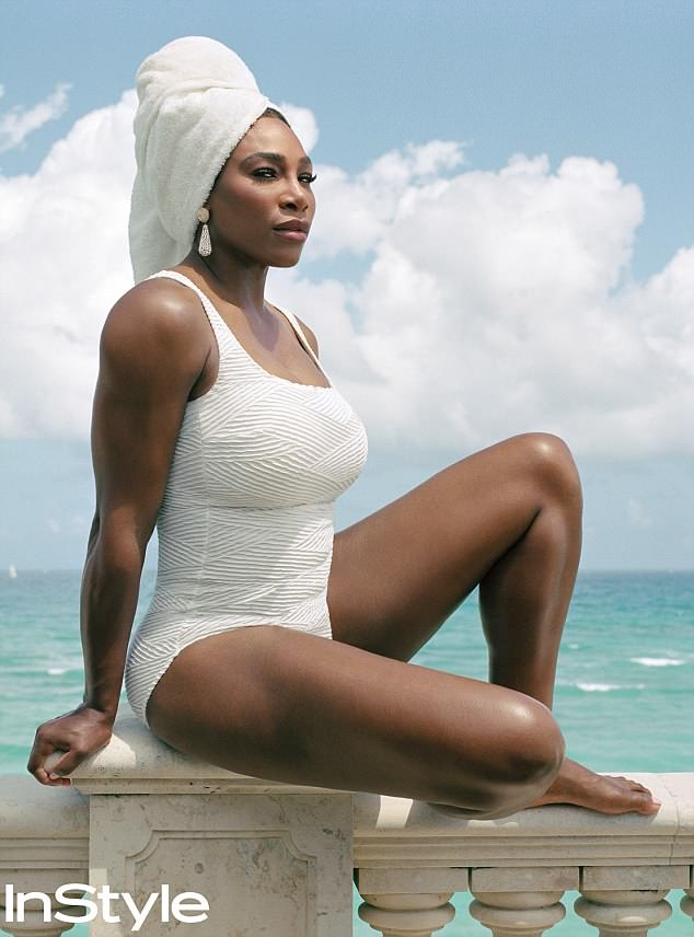 Love: Serena Williams looked to be in top shape sporting a crisp white swimsuit as she graced the cover of InStyle's first Badass Women Issue