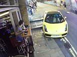 The £150,000 Lamborghini Gallardo, top right, starts to roll down the street in Hong Kong