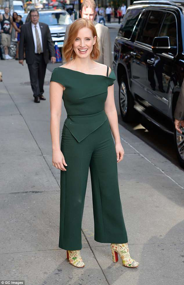 Showstopper: Jessica has been rocking very fashionable looks in the Big Apple as on Monday she wowed in a evergreen jumpsuit for her appearance on The Late Show with Stephen Colbert