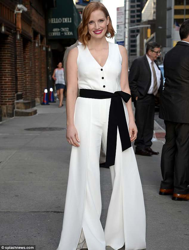 White jumpsuit: The actress later was seen in a crisp white jumpsuit with a black bow belt