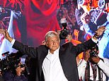 """In this Wednesday, June 27, 2018 photo, presidential candidate Andres Manuel Lopez Obrador waves to supporters at his closing campaign rally in Mexico City. Despite his new image, the 64-year-old candidate universally called AMLO appears to trust more in his own sense of mission than in the rules of modern economics and vows to wrest control of the country back from the """"mafia of power"""" that he has railed against for decades. (AP Photo/Ramon Espinosa)"""