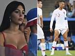 Spanish model Georgina Rodriguez, 22 (pictured) was pictured in a red corset top and silver hoop earrings as she looked onto the pitch to watch her beau, 32, take on Portugal