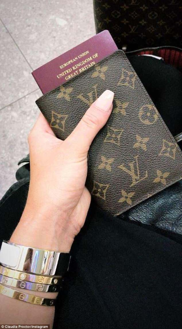 Leaving on a jet plane:On Tuesday morning she then posted an image of her Louis Vuitton passport holder on Instagram with a ticket showing she is Majorca headed