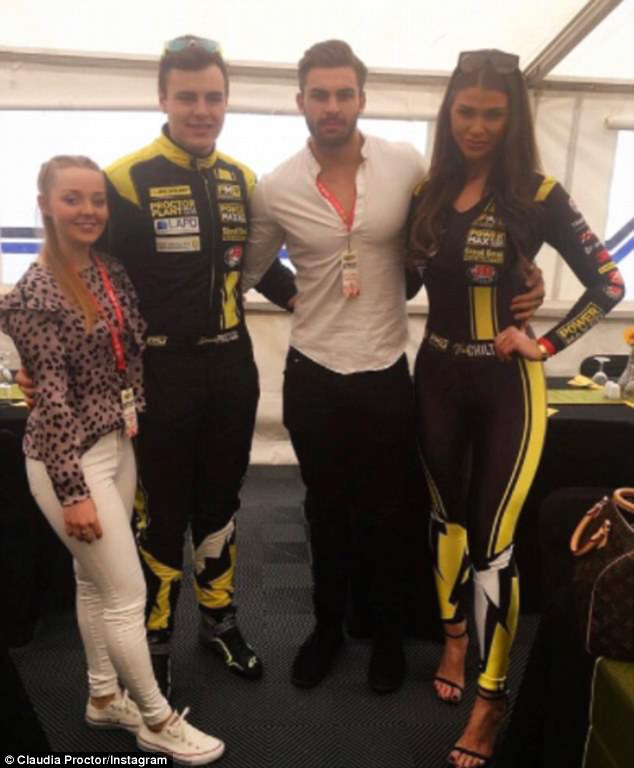 Supportive: Adam visited Claudia at work while she appeared to be working as a Grid Girl last year