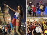 Russia fans celebrate in the Red Square, Moscow, after the host nation defeated Spain in their round of 16 match