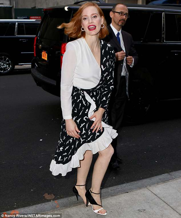 Walking ahead: Jessica brought the glamour to the special screening in the Big Apple hosted by A24 and DirecTV