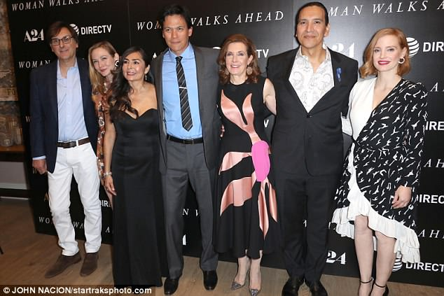 Group photo: Jessica joined Michael, Susanna and cast at the screening