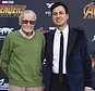 """FILE - In this April 23, 2018, file photo, Stan Lee, left, and Keya Morgan arrive at the world premiere of """"Avengers: Infinity War"""" in Los Angeles. Attorney Alex Kessel entered a not-guilty plea in Los Angeles Superior Court on Monday, July 2, 2018, for Morgan, who is charged with calling 911 to report that detectives and a social worker conducting a welfare check on the 95-year-old Lee were burglars. (Photo by Jordan Strauss/Invision/AP, File)"""