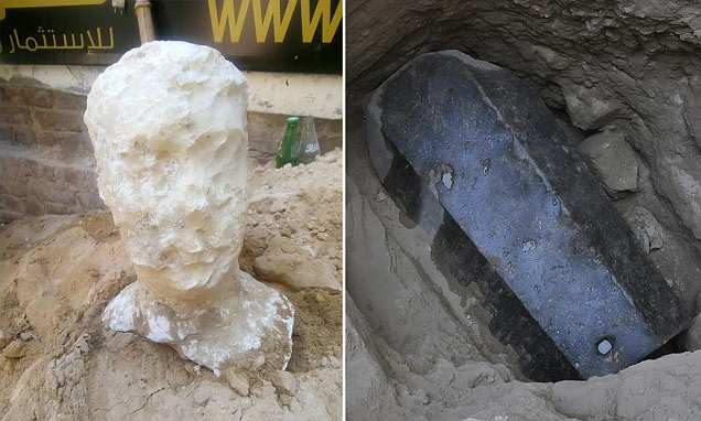 Archaeologists unearth 8.6 foot tall sarcophagus buried in Egypt beside a massive stone