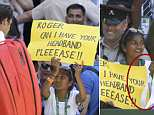 Federer went over to the crowd after his victory over Dusan Lajovic - and a young fan made her way to the front row