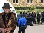 Janet Jackson (circled) is seen Monday at her father, Joe Jackson's private funeral service in Glendale, California