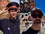 Ryan Giggs pictured by Gary Neville in Moscow's Red Square in 2018 (right), 26 years after their visit to the same spot before Manchester United played Torpedo Moscow in the UEFA Cup