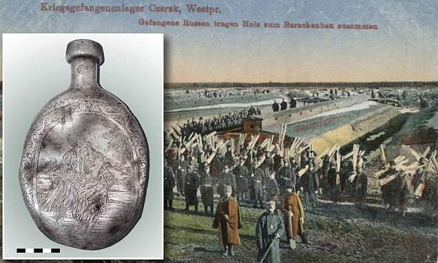 Romantic scene carved into a metal canteen 100 years ago reveals the 'deep longing' of a