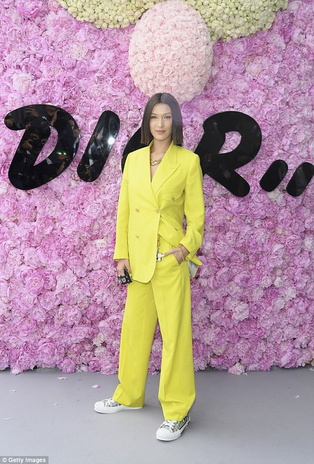 Model behavior: She was certainly feeling the mellow yellow vibes during a visit to the Dior Homme Menswear Spring/Summer 2019 collection; seen on Saturday