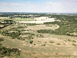 Aerial images highlight the effect the heatwave is having on Britain's green and pleasant land as the parched earth turns an arid yellow amid scorching temperatures and little rainfall. The Shires London golf course near Barnet in London has lost its lush green vigour and turned an arid yellow
