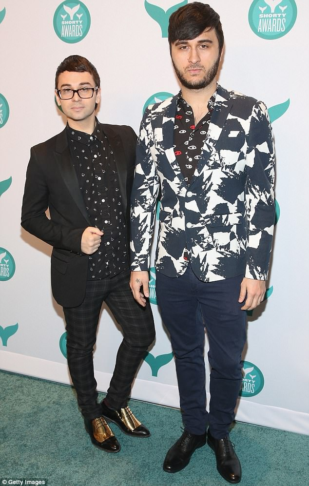 Split: Brad (right) and Christian (left) had been together for 11 years. They are pictured in April 2016 during the Shorty Awards in New York City