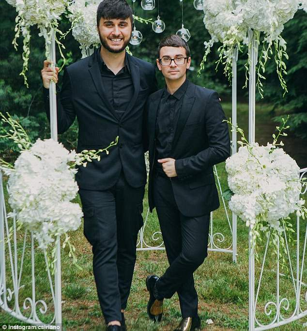 Split: Christian Siriano (left) and his husband Brad Walsh (right) have separated after almost two years of marriage. They are pictured on their wedding day in July 2016