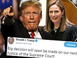 Trump tweeted on Saturday hinting towards his Supreme Court Justice pick coming Monday