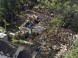 This arieal image taken from video provided by WPVI shows debris covering the ground after a house exploded on Saturday, July 7, 2018 in Newfield, N.J. The blast reduced the two-story home to a pile of rubble, killing two people